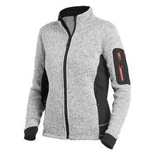 FHB Damen Strickfleece-Jacke MARIEKE grau/schwarz, körpernahe Passform