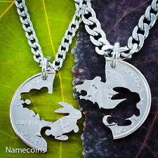 Bear and Bunny Necklace Set, Interlocking NameCoins Handmade coin