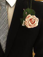 Wedding posy bouquet flowers corsage bride bridesmaid groom pink rose grass - C