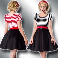 Jersey Retro Kleid Gürtel 34-46 Rockabilly 50er Jahre Vintage Stripes 50025-50
