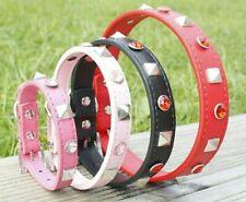 Dog Collar Puppy Diamante Stud XS Small Medium Large PU Leather Red Pink Pug UK