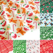 Christmas Fabric Red Blue Per Half Metre Bundle Polycotton Remnants