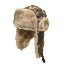 MENS CAMO (GREY/ BLACK) RUSSIAN TRAPPER HAT fur lined,  fast post 1st class