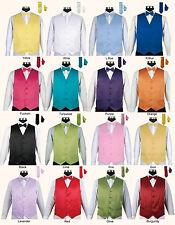 Men's 4 Piece Tuxedo Vest Set with Bow tie, Handkerchief and Tie 16 Solid colors