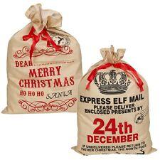 Noël grand sac vintage toile de jute stockage cadeau CADEAUX SAC Noël NEUF