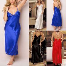 Women Sexy Lingerie Babydoll V-neck Plus Size Sleepwear Satin Long Gown Dress _H