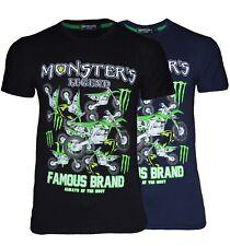 T-shirt uomo Monster s Legend maglia nera blu elasticizzata mezza manica  LM171