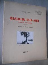 Beaulieu-sur-Mer Recueil Historique par André Cane 1937 Nice environ