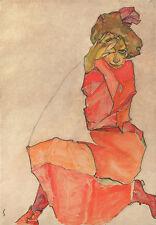 Egon Schiele-De rodillas Mujer En Color Naranja Vestido Rojo Vintage Fine Art Print