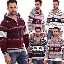 Cardigan uomo maglione pullover giacca cappuccio zip stampa nordica nuovo XY3125
