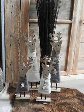 Filz Holz Hirsch zur Wahl Dekoration Weihnachten Advent Tischdeko Creme Grau