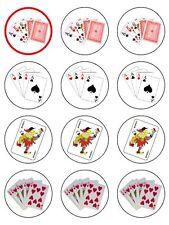 Naipes De Poker Cumpleaños Comestibles Glaseado Cupcake Toppers Decoración X12