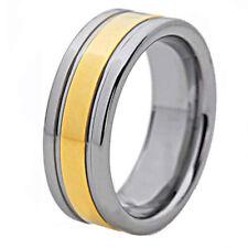 Tungsten Center Gold Stripe Inlay Grooved Edge Ring Men's Wedding Band