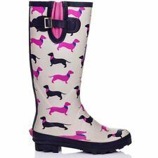 Womens Knee High Flat Festival Wellies Rain Boots