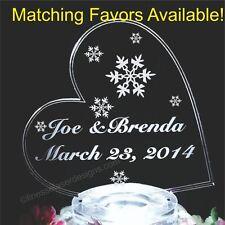 Snowflake Lighted Wedding Cake Topper Side Heart Acrylic Custom LED Engraved