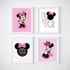 Minnie Mouse Nursery Room Decor, Kids Wall Prints,