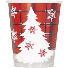 rústico de Cuadros Navidad Copo Nieve Árbol Papel 270ml Fiesta Tazas La Bebida