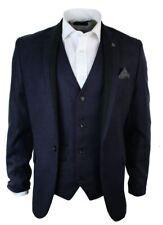 Mens Purple Herringbone Tweed Vintage Slim Fit Blazer Jacket Black Trim Smart Ca