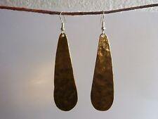 Hammered Brass Earrings / Pendant / Set. Earrings 6cm long. Free post UK.
