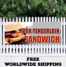 Pork Tenderloin Sandwich Advertising Vinyl Banner Flag Sign Deep Fried Breaded