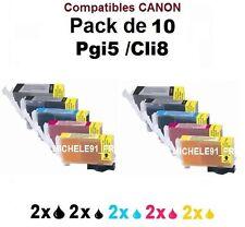 ** 10 Cartouches compatible Canon PGI-5 CLI-8 noir cyan magenta jaune **