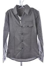 Doublju Men's Button Long Sleeve 100% Cotton Pocket Shirt Grey, NEW, US S, XL