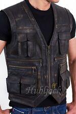 Jurassic World Chris Pratt Owen Grady Motorcycle Real Leather Vest Jacket