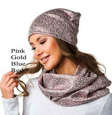 Women Girl Shiny Metallic Crochet Knit Fabric Slouchy Hat Beanie Cap Scarf Set