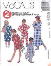 8529 UNCUT McCalls SEWING Pattern Girls Boys Nightgown Pajamas Top Pants 2 Hour