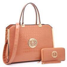 New Womens Handbags Faux Croco Leather Briefcase Laptop Bags Satchel w/ Wallet