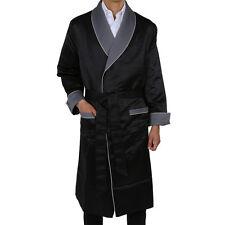 Mens Long Satin Robe – Fully Lined – Black / Grey  - Heavy Weight  (#60289)