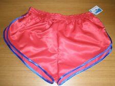 Nylon Satin Sprinter Shorts Red With Royal Blue Trim, Small to XXXXL