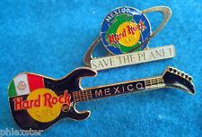MEXICO CITY BLACK JACKSON GUITAR + SAVE THE PLANET GLOBE Hard Rock Cafe PINS