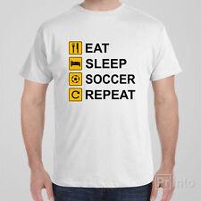 Funny T-shirt EAT SLEEP SOCCER REPEAT cool novelty tee shirt