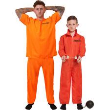 ADULT OR CHILDS PRISONER COSTUME ORANGE CONVICT HALLOWEEN FANCY DRESS KIDS