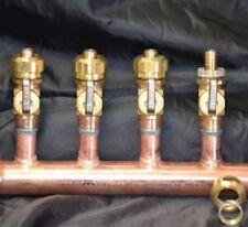 """1"""" Copper Manifold 5/8"""" Compresson STANDARD. PEX (W & W/O Ball Valves) 2-12 Loop"""