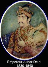 PEINTURE ANGLO INDIAN PORTRAIT MINIATURE Empereur Akbar Delhi miniature painting