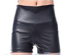 Women Sexy Matte Synthetic Leather Punk Rock High Waist Short Hot pants Shorts