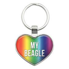 Metal Keychain Key Chain Ring Rainbow I Love Heart My A-B