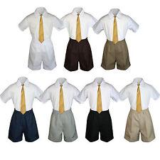 3pc Baby Boys Toddler Formal Gold tie,Brown Gray Navy Black D.Khaki Shorts Set