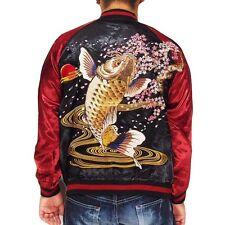 Japannese Sukajan Jacket Embroider Souvenir Satori Carp Cherry Blossoms Sakura