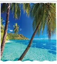 Tropical Shower Curtain Palm Trees Sea Beach Print for Bathroom