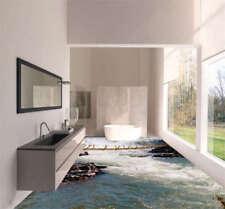 Nice Stream Wooden Bridge 3D Floor Mural Photo Flooring Wallpaper Home Printing