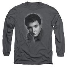 Elvis Presley The King Rock Grey Portrait Adult Long Sleeve T-Shirt Tee