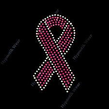 "Rhinestone Transfer "" Pink Breast Cancer Ribbon "" 2 Sizes, Iron On, Hotfix"