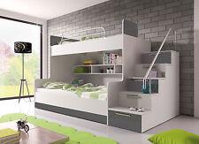 Hochglanz Etagenbett Doppelbett ALEX mit Treppe, Regalen und Bettkasten