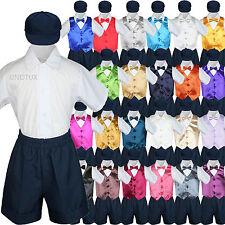 Baby Boys Toddler Formal Vest Shorts Suits Satin Vest Bow Tie 5pc Navy Set S-4T