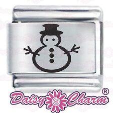SNOWMAN OUTLINE CHRISTMAS et by JSC Fits Classic Size Italian Charms Bracelet