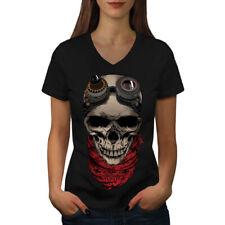 Pilot Fly Dead Skull Women V-Neck T-shirt NEW | Wellcoda