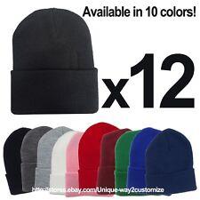 WHOLESALE LOT 12 PLAIN SOLID LONG BEANIE HATS ***10 COLORS*** USA SELLER!!!!!